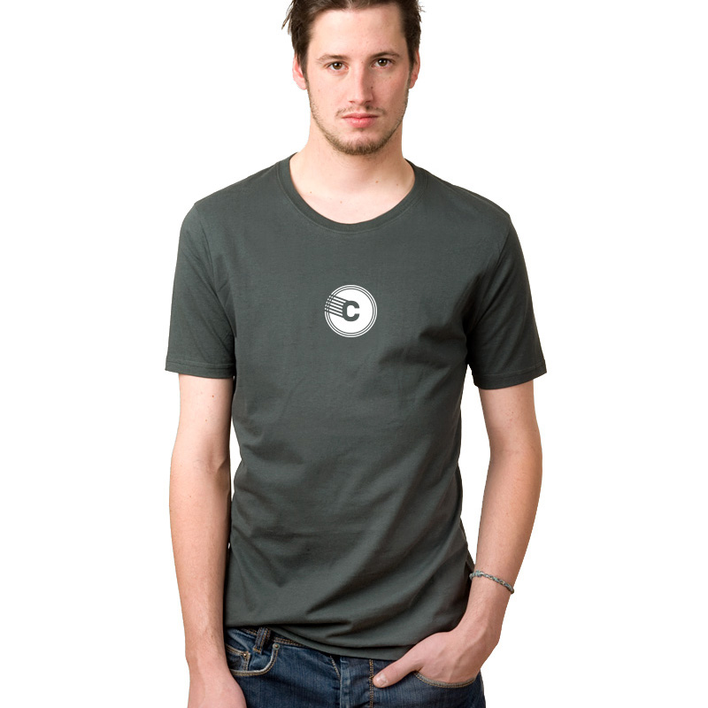 t shirt homme gris vert logo blanc la com te. Black Bedroom Furniture Sets. Home Design Ideas